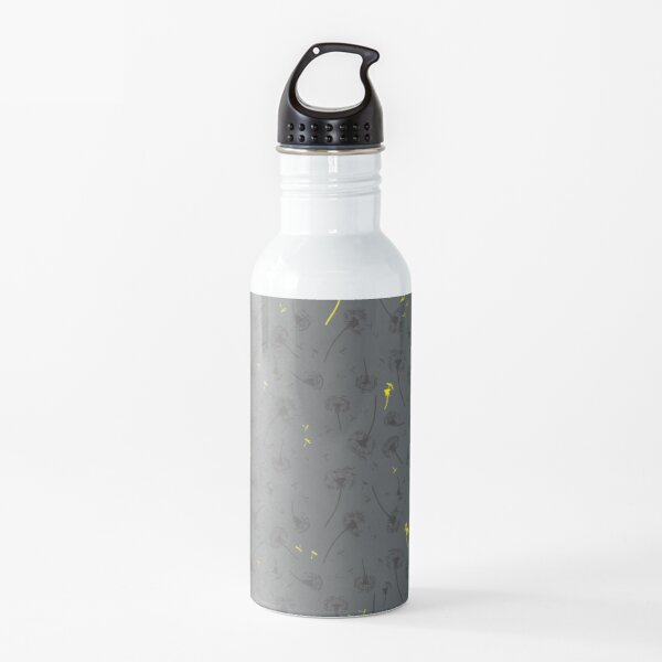 Dandelions in grey with a yellow touch Water Bottle