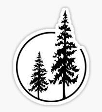 Pegatina Dos árboles simples en un círculo