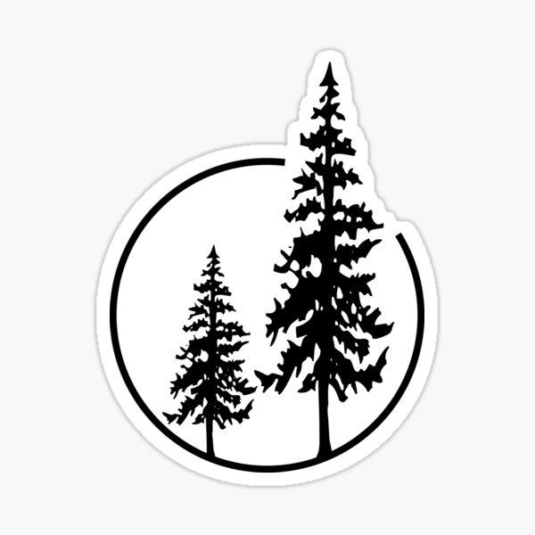 Dos árboles simples en un círculo Pegatina