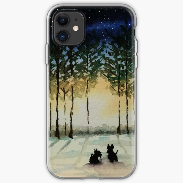 Scottie Dogs,'Winter Evening' iPhone Soft Case