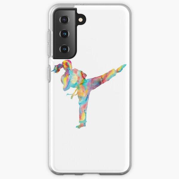 Karate girl watercolor art Samsung Galaxy Soft Case