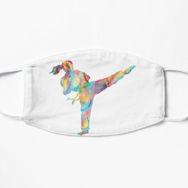 Karate girl watercolor art Flat Mask