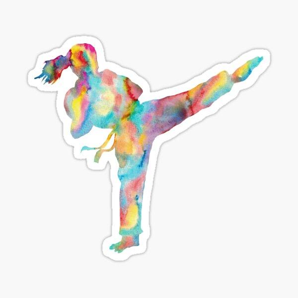 Karate girl watercolor art Sticker
