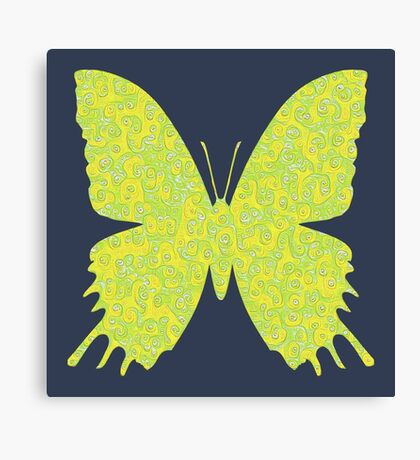 #DeepDream Lemon Lime color Butterfly Canvas Print
