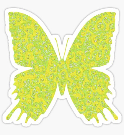 #DeepDream Lemon Lime color Butterfly Sticker