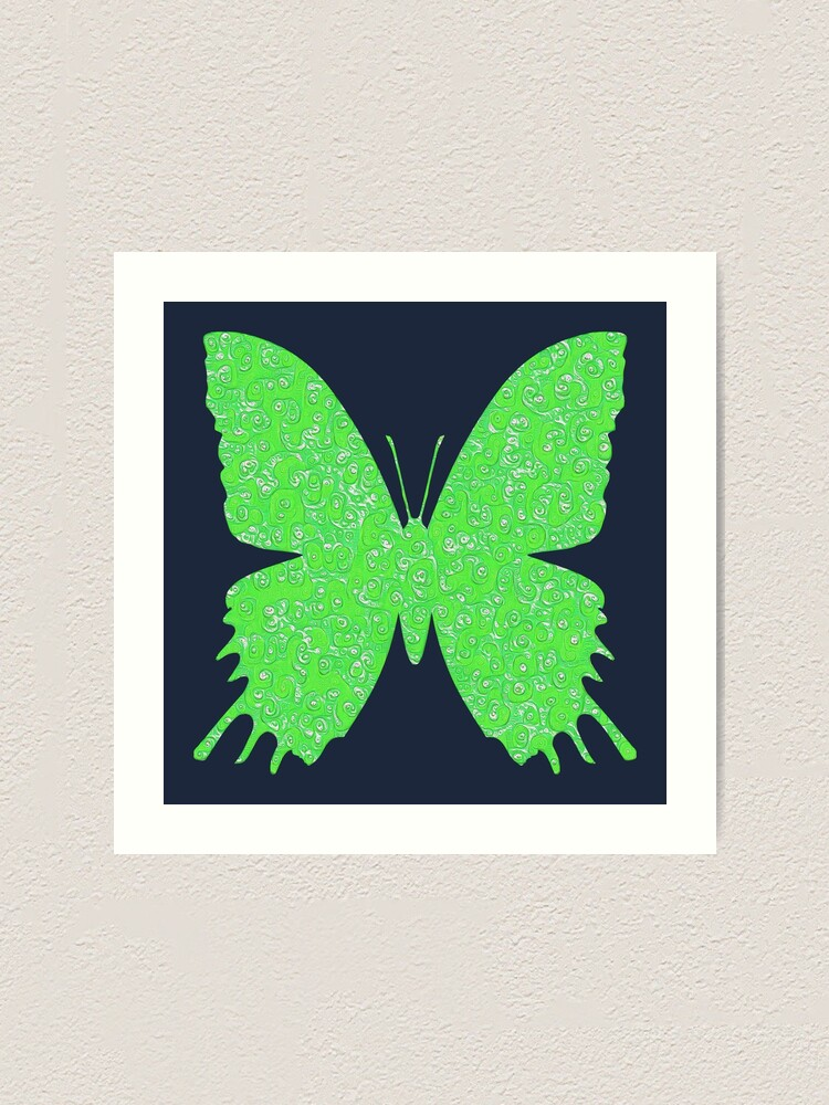 Alternate view of #DeepDream Lime Green color Butterfly Art Print