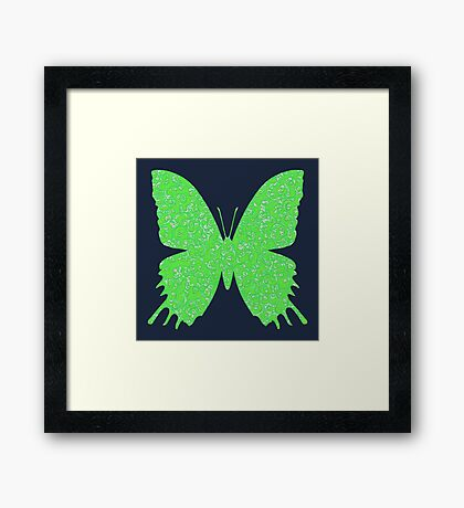 #DeepDream Lime Green color Butterfly Framed Print