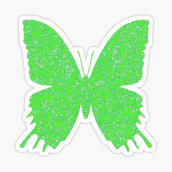 #DeepDream Lime Green color Butterfly Sticker
