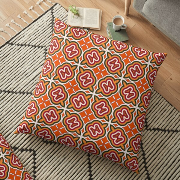 Modern Abstract Geometric Orange Grey Red Pattern Design 1114 Floor Pillow