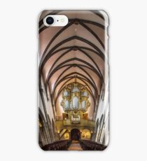 Panoramic interior view of medieval church in Ribeauville, Alsace, France iPhone Case/Skin