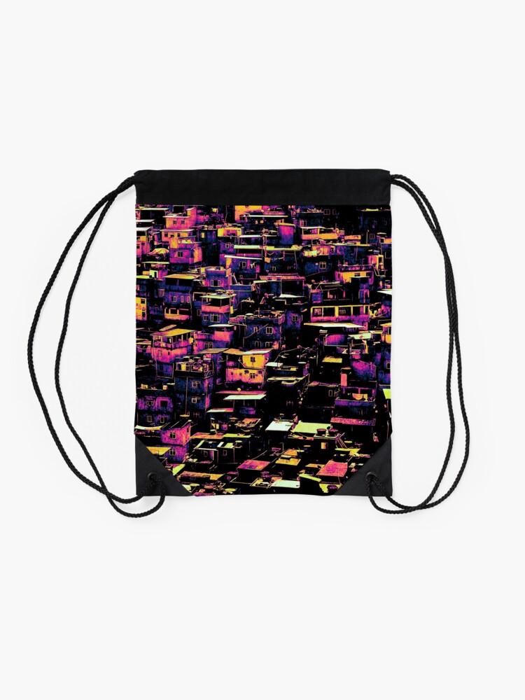 Alternate view of Homes On A Hill Pop Art Drawstring Bag