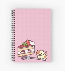 Neko Atsume - Peaches with strawberry cake Spiral Notebook