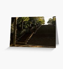 Joyful, Sunny Splashes - Wide Steps and Blue and Yellow Cascades - Montjuic Park, Barcelona, Spain Greeting Card