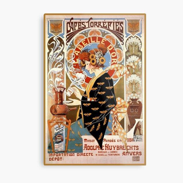 Cafés torréfiés Labeille dor. French art nouveau poster Metal Print