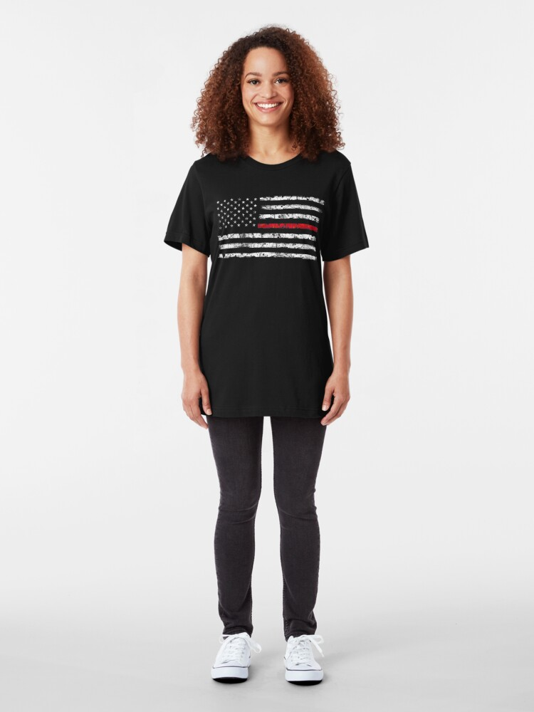 Vista alternativa de Camiseta ajustada Línea roja (blanca) V2