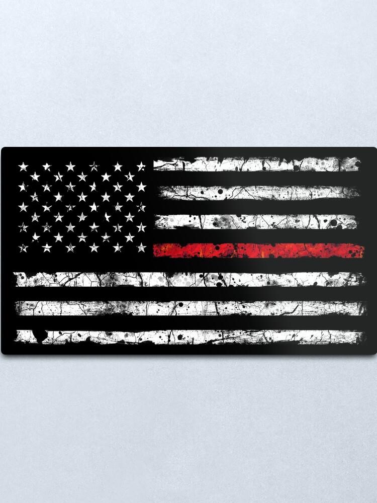 Alternate view of Red Line (White) V2 Metal Print