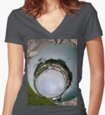 Hurry Head Harbour, Carnlough, County Antrim - Sky In Women's Fitted V-Neck T-Shirt
