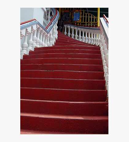 The Red  Stairway to the Iguana Grill Photographic Print