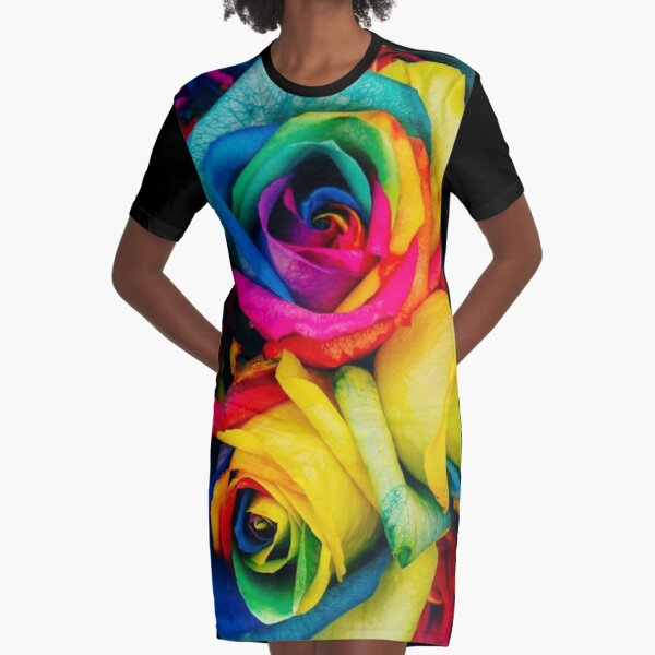 Bold Rainbow of Roses Graphic T-Shirt Dress