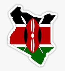 Flag Map of Kenya  Sticker