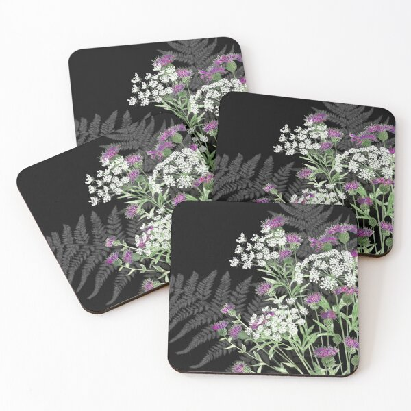 Wild Flowers - Knapweed, Ammi & Bracken Ferns Coasters (Set of 4)