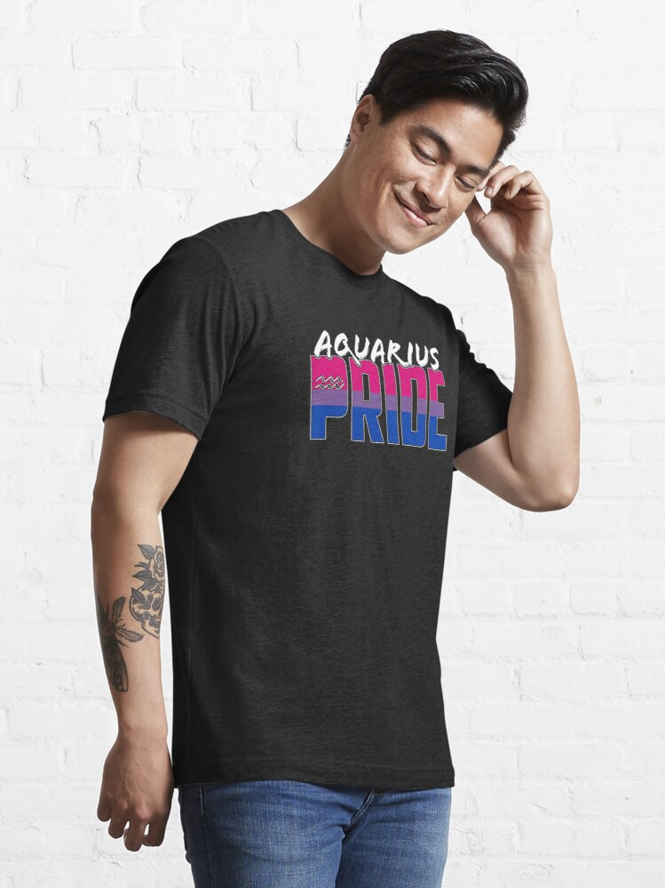 Alternate view of Aquarius Bisexual Pride Flag Zodiac Sign Essential T-Shirt