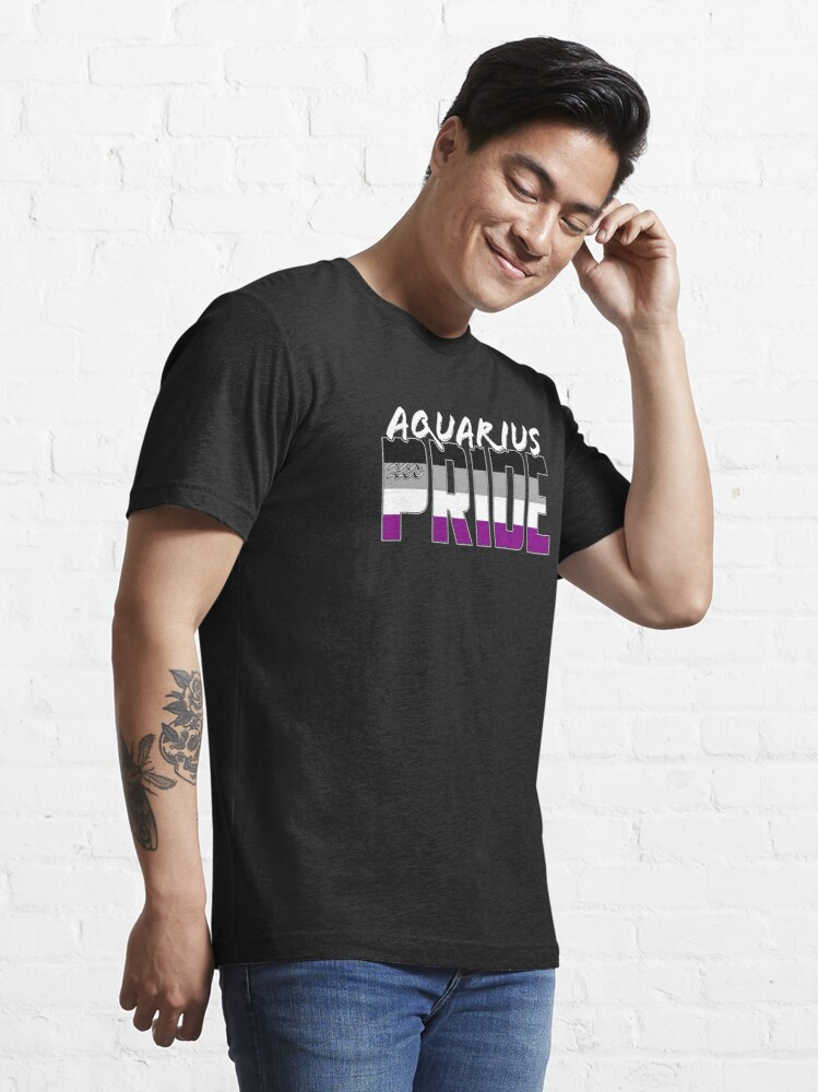 Alternate view of Aquarius Asexual Pride Flag Zodiac Sign Essential T-Shirt
