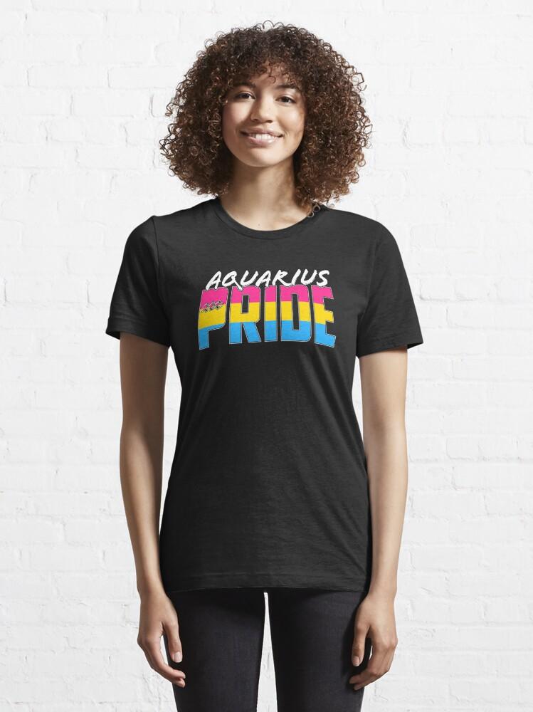 Alternate view of Aquarius Pansexual Pride Flag Zodiac Sign Essential T-Shirt