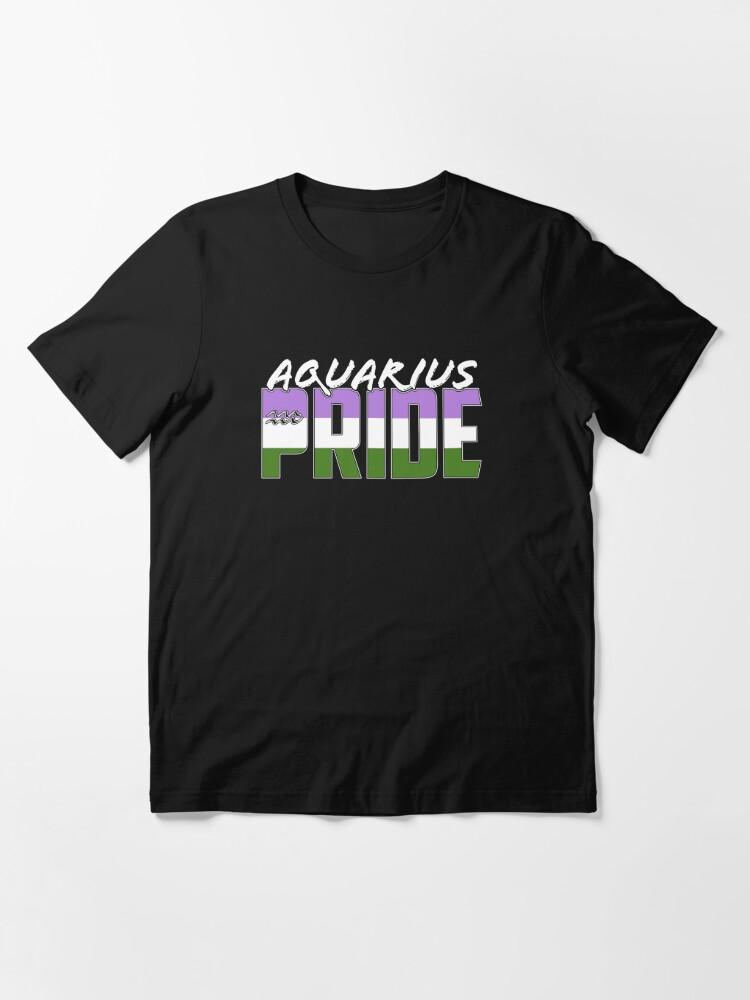 Alternate view of Aquarius Genderqueer Pride Flag Zodiac Sign Essential T-Shirt