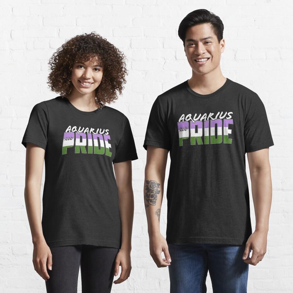 Aquarius Genderqueer Pride Flag Zodiac Sign Essential T-Shirt