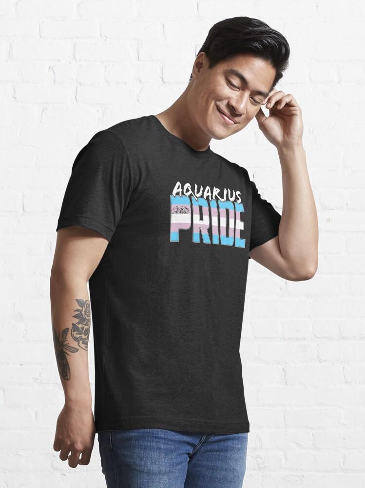 Alternate view of Aquarius Transgender Pride Flag Zodiac Sign Essential T-Shirt