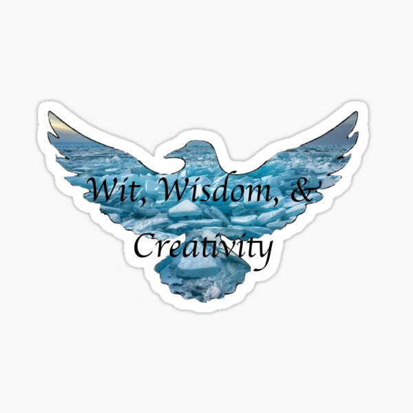 Ice Blue Raven, wit wisdom and Creativity Sticker
