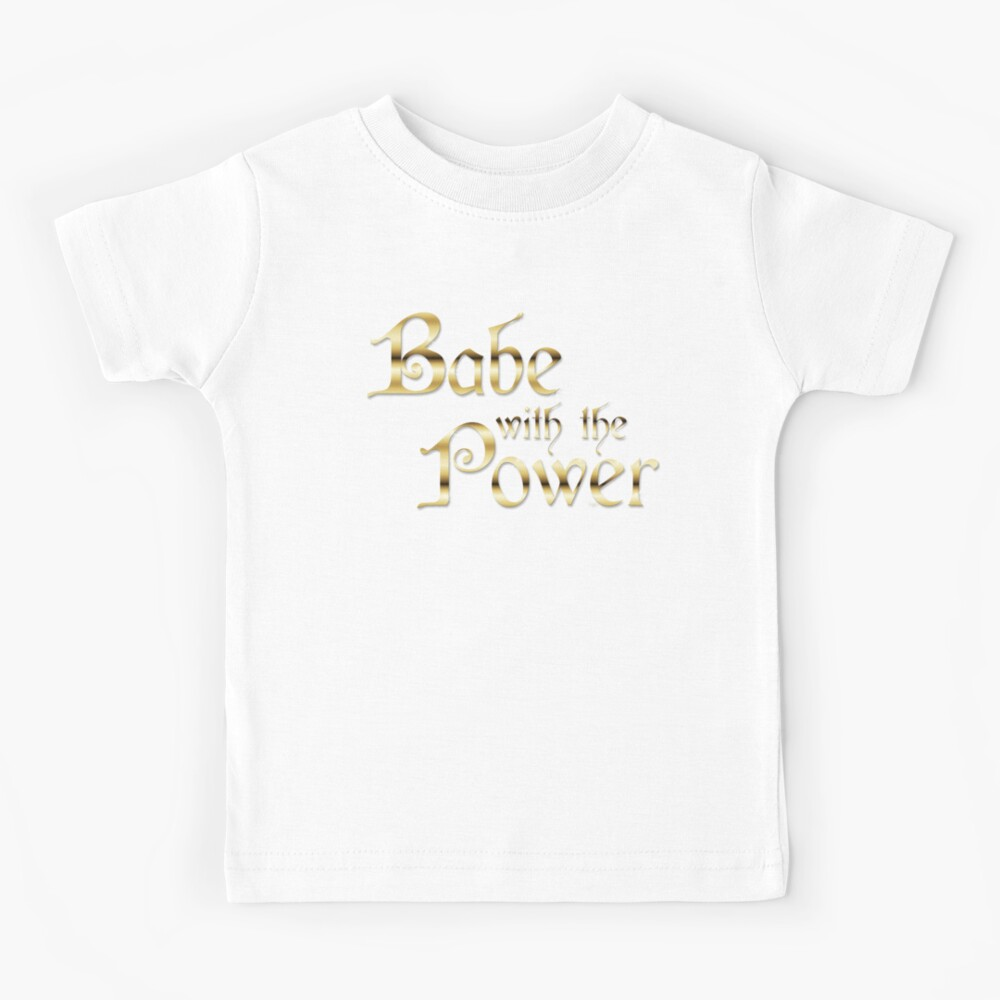 Labyrinth Babe With The Power (black bg) Kids T-Shirt