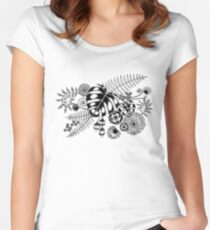 Tropical Leaves and Flowers Women's Fitted Scoop T-Shirt