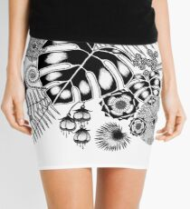 Tropical Leaves and Flowers Mini Skirt