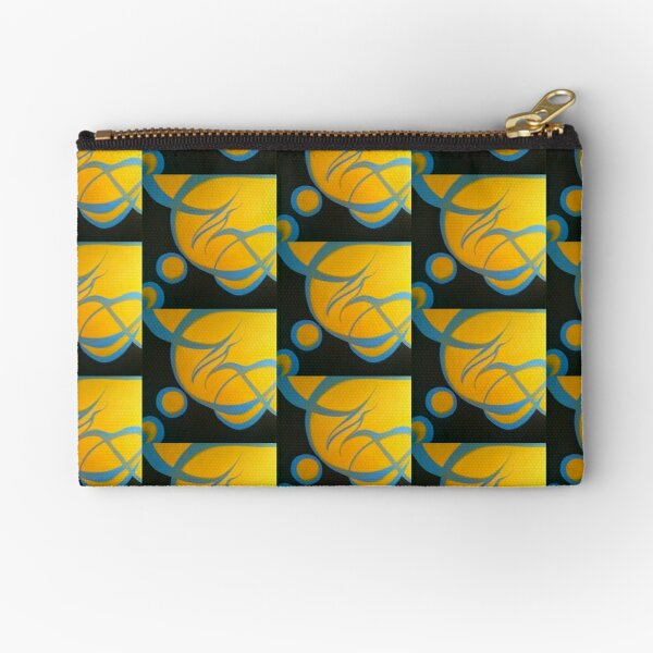 blue and yellow Zipper Pouch