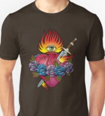 Flaming heart tattoo Unisex T-Shirt