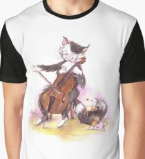 Cello Cat Drawing by Margit Graphic T-Shirt