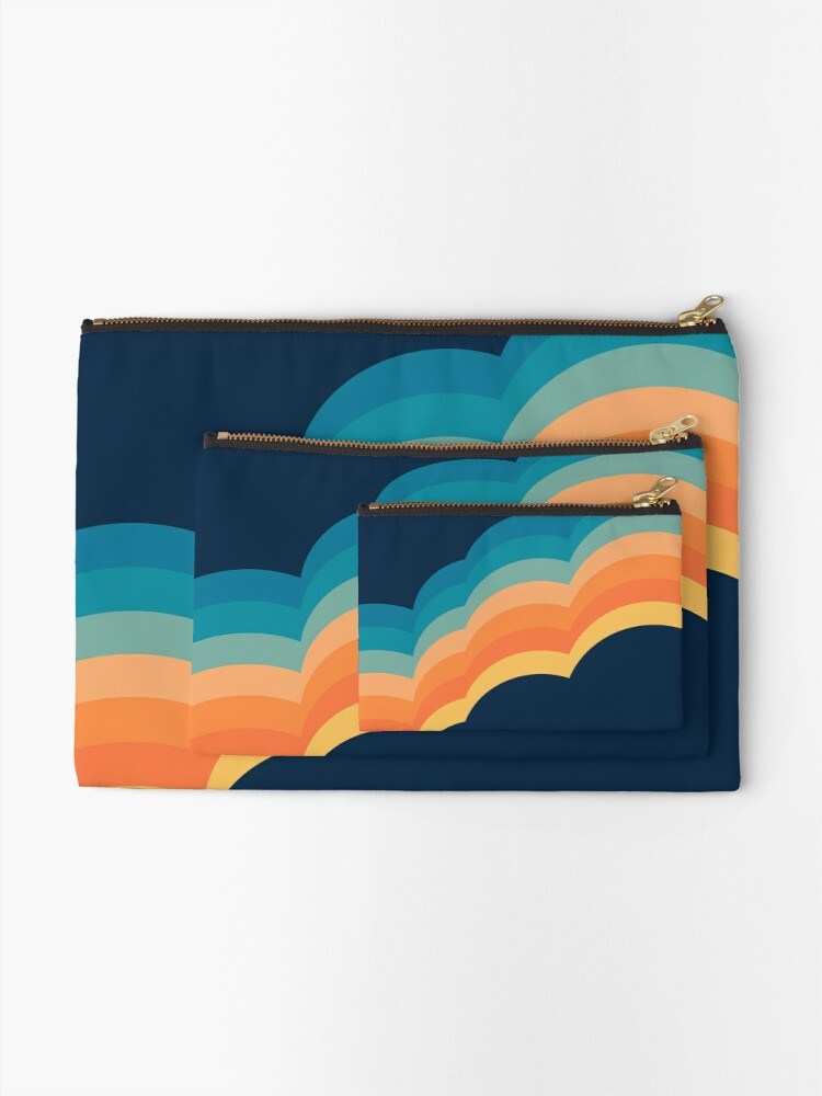 Alternate view of Colorful retro style clouds Zipper Pouch