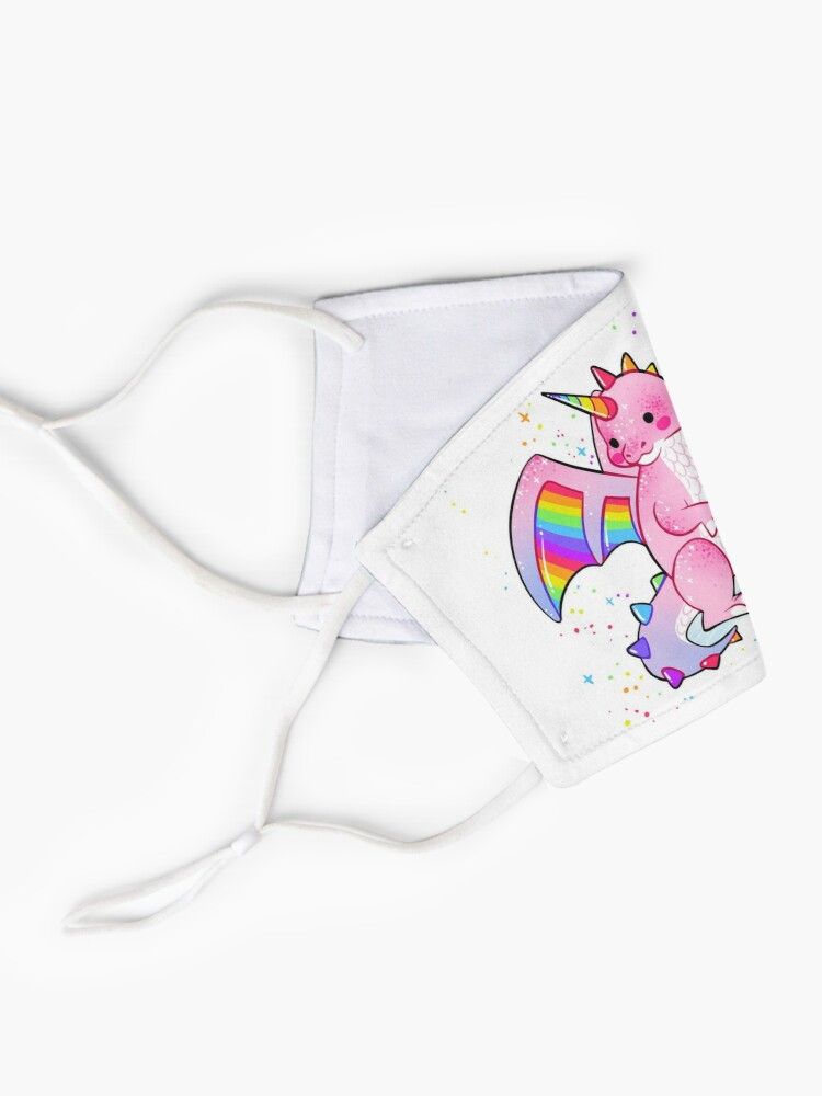"""Alternate view of """"There's no REAL reason to be so hard on yourself"""" Pink and Rainbow Dragon Mask"""