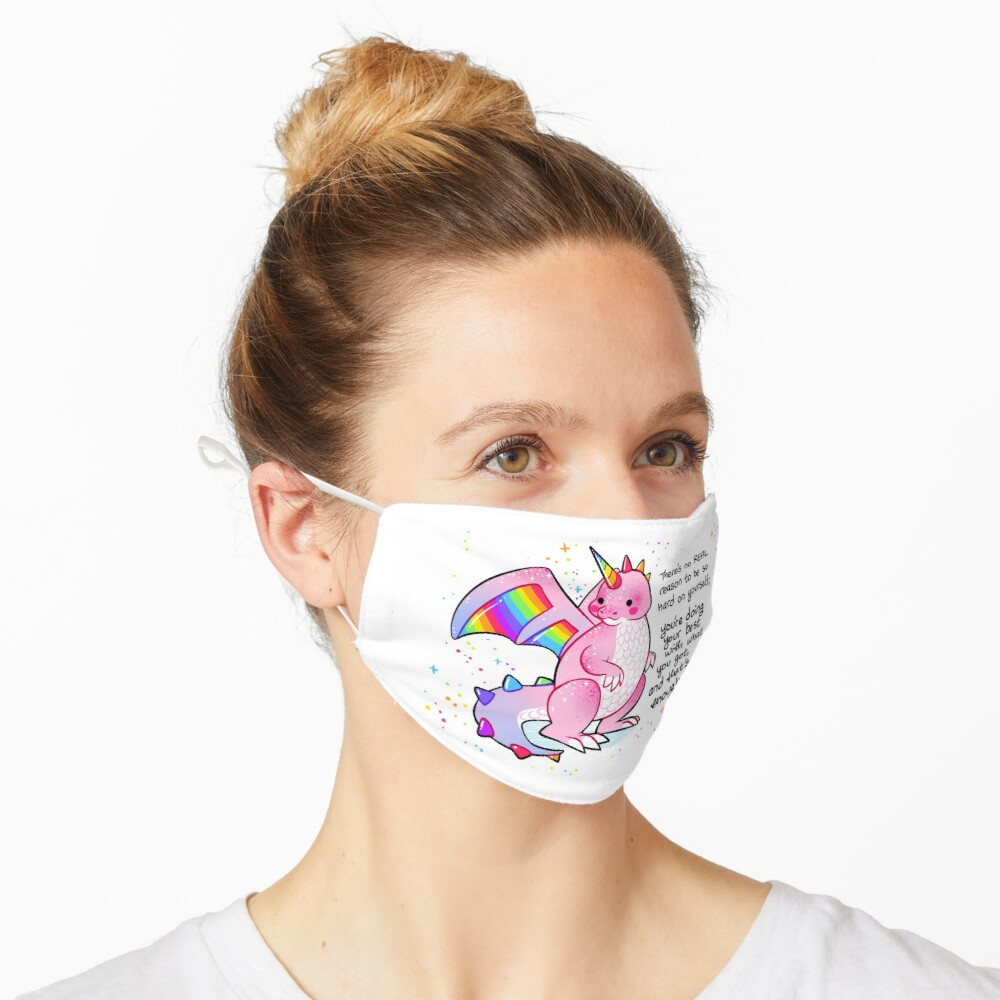 """""""There's no REAL reason to be so hard on yourself"""" Pink and Rainbow Dragon Mask"""