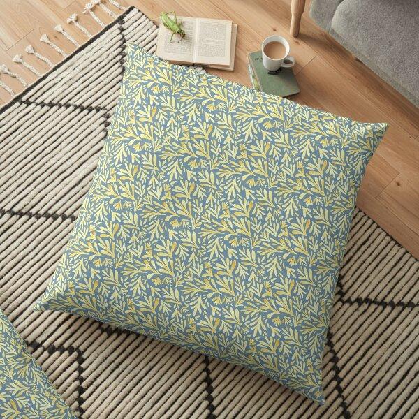 Yellow Watercolor Leaves Floor Pillow