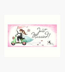 Watercolors Just Married Newlyweds on Scooter Art Print