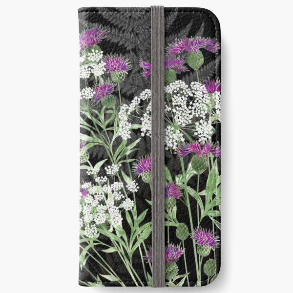 Wild Flowers - Knapweed, Ammi & Bracken Ferns iPhone Wallet