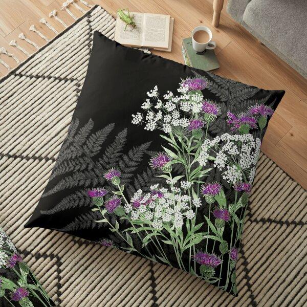Wild Flowers - Knapweed, Ammi & Bracken Ferns Floor Pillow