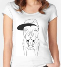 dogs, cute puppy pitbull Women's Fitted Scoop T-Shirt