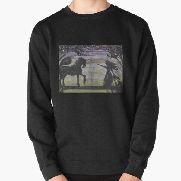 Unicorn and Girl Acrylic Painting Pullover Sweatshirt