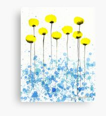 Lovely Lady -- Yellow Watercolor Flowers Canvas Print