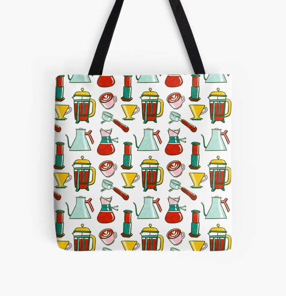 Coffee Pattern All Over Print Tote Bag