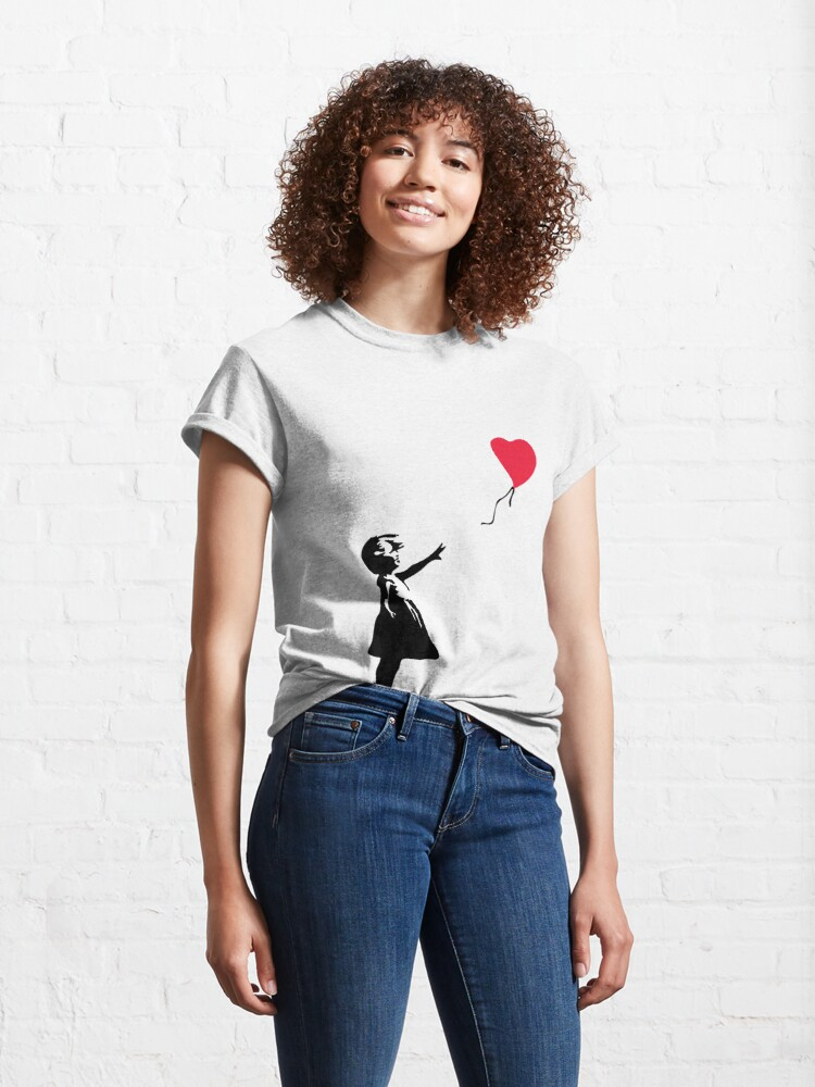 """Alternate view of Girl With Red Balloon - Banksy """"self-destructs"""" painting Classic T-Shirt"""